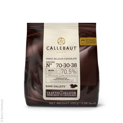 Barry Callebaut Finest Belgian Dark Chocolate 400g Pouch - 70.5 % Cocoa Solids