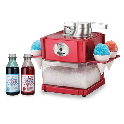 JM Posner Snow Cone and Slush Maker with 2 x 500ml Syrup Bottles