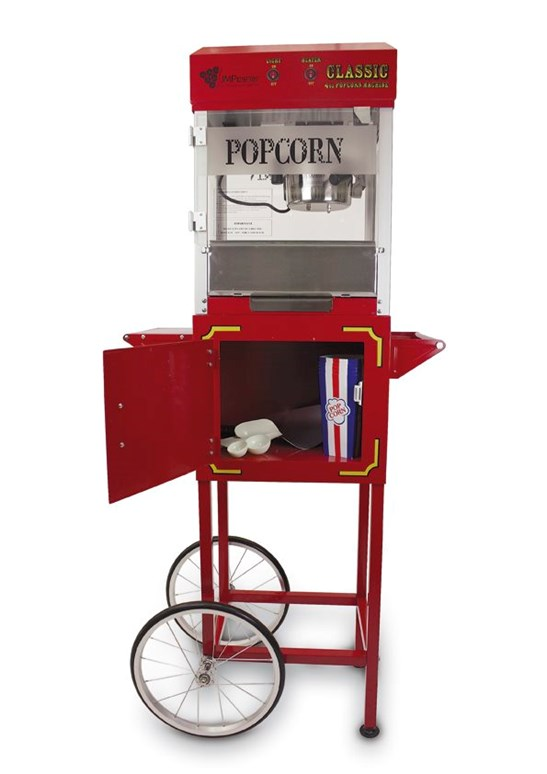 additional image for 4oz Red Semi Pro Popcorn Maker Top and Cart