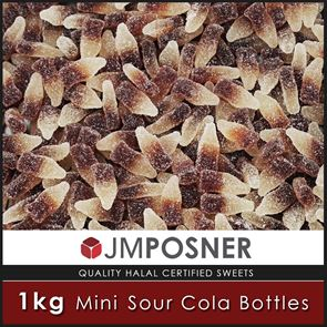 Mini Sour Cola Bottle Sweets - 1kg Bag